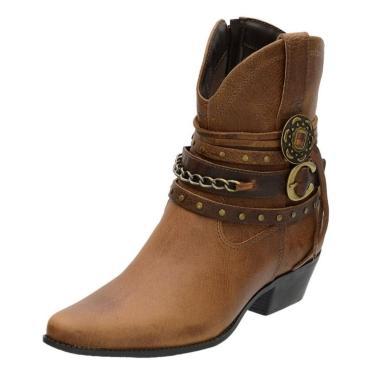 Bota Country Feminina Mr Shoes em Couro Tabaco  feminino
