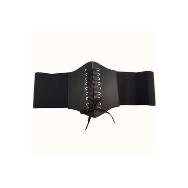 Cinto Feminino Corselet Plus Size Elástico Preto Courino Moda Grande