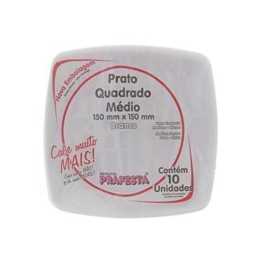 Prato de Plástico Descartável Quadrado Branco Grande com 10 Unidades Prafesta