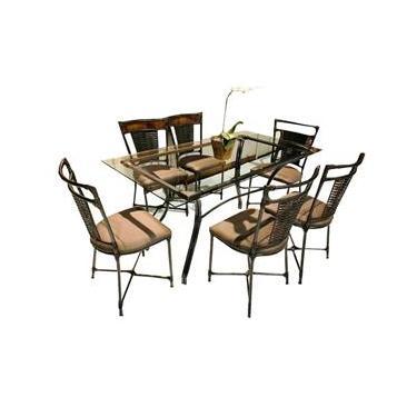 Jogo De Mesa Com 6 Cadeiras E Tampo De Vidro