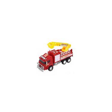 Imagem de Caminhão Bombeiro Infantil Fricção 20Cm Vermelho Brinquedo