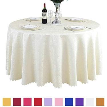 Imagem de Toalha de mesa de linho estilo europeu jacquard tecido de poliéster redonda lavável à máquina toalhas de mesa casamento para festas de restaurante mesa redonda 240 cm/94 (cor: roxo) - branco perfeito