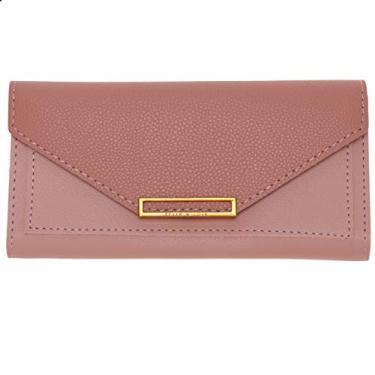 Valicclud carteira feminina retrô bolsa clutch envelope bolsa de mão PU bolsa de mão para presentes de festa feminina e meninas (preto), rosa, 19X9X1.5CM