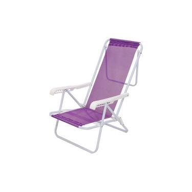 Cadeira de Praia Alta Sannet Reclinavel 8 Posições cor Lilas - Mora