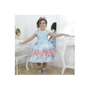 Vestido infantil luxuoso azul floral com bordado em perolas