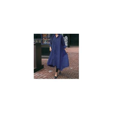 Vonda feminino manga comprida lapela botão baixo jeans camisa vestido moda irregular bainha férias vestidos longos vestidos tamanho grande Azul escuro M