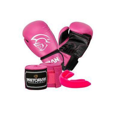 c4857c693 Kit Boxe Muay Thai First Pretorian Bucal + Bandagem + Luva 10 Oz