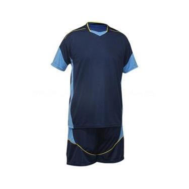 Uniforme Esportivo Munique 1 Camisa de Goleiro Omega + 16 Camisas Munique +16 Calções - Marinho x Celeste x Amarelo