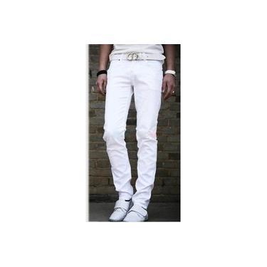Calça Jeans Branca masculina Skinny Stretch Lycra Tamanhos Do 36 Ao 48