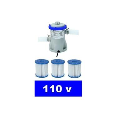 Bomba Filtrante Bestway 1249 LH 110v com 03 Refis Filtro para piscina (02 + 01)