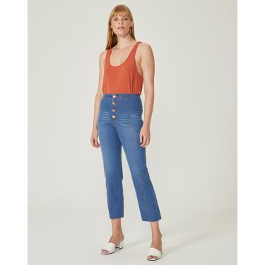 calça jeans reta cintura alta costuras frontais