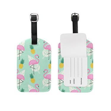 Etiqueta Cooper Girl Plam Leaves Flamingo Bagagem Etiqueta Viagem Identificação Couro para Mala de Bagagem 1 Peça