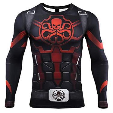 Imagem de Camiseta masculina Hydra Capitão América de compressão com estampa 3D, Vermelho, Small