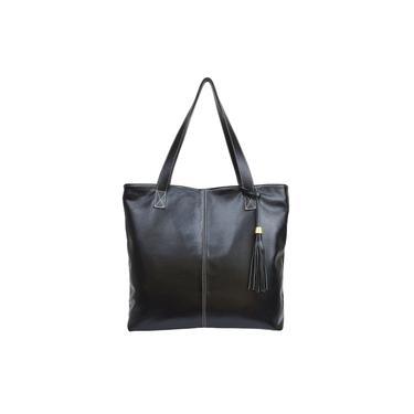 Bolsa Preta Feminina Shopbag Couro 100% Legítimo Metais Dourados c/ Enfeite Madamix