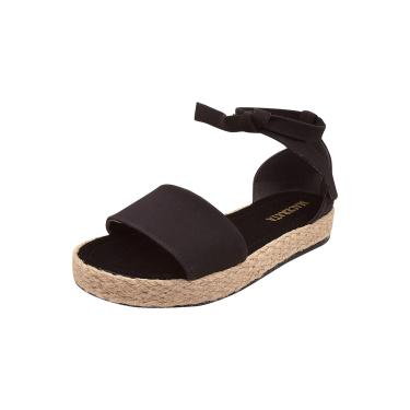 Sandália Plataforma Macerata Flatform Amarrar Sola Corda Preta  feminino
