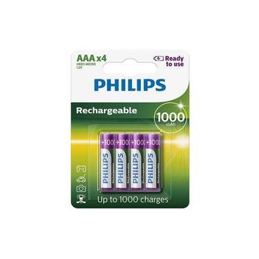 Pilha Recarregável Philips Aaa 1000mAh Palito com 4 Unidades Prontas pro Uso RTU