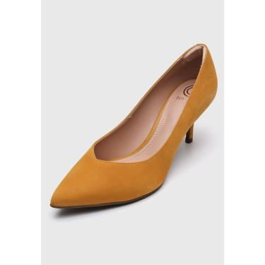 Scarpin Couro Dumond Nobuck Amarelo Dumond 4114412 feminino