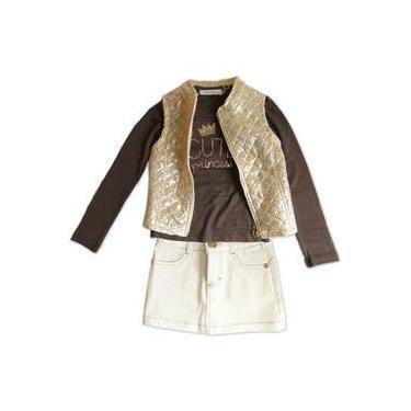 Conjunto Menina Camiseta Marrom Colete Dourado E Mini Saia Branca