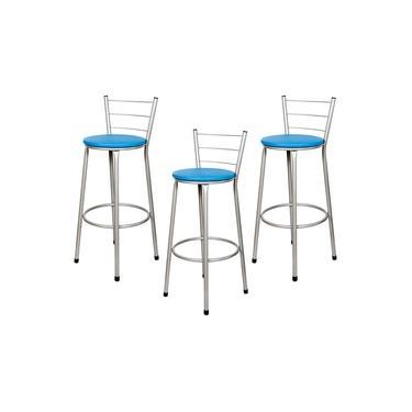 Banquetas Baixa Para Cozinha Prata 3Un Assento Azul