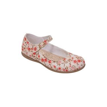 Sapatilha Boneca Infantil Menina Camurça Marfim Floral Coral e Vermelho