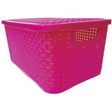 Caixa organizadora c/alças Rattan rosa 4L 062R Nitron PT 1 UN