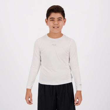 Camiseta Fila Sunprotect UV Manga Longa Juvenil Branca - 10 ANOS