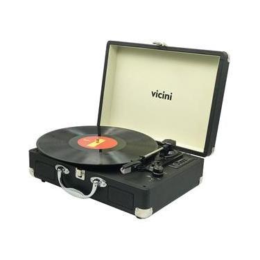 Toca Disco Bluetooth 10WRMS Vicini Classic VC-285 Entradas USB e SD Preto