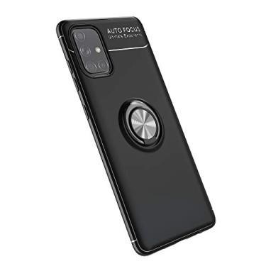 Cellular Capa para Samsung Galaxy A71(5G)/A Quantum Capa Case Anel Suporte Magnético Protetor de Suporte TPU + ABS Silicone Capa Anti-queda Atualização função de suporte Caso Cell Case:Preto