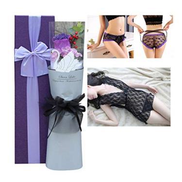 Conjunto de lingerie sexy de renda com buquê de rosa da PretyzOOM