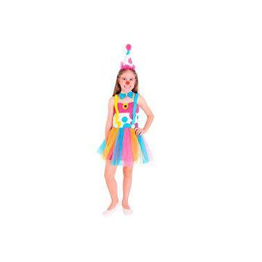 Fantasia Palhacinha Vestido Infantil Com Chapéu ed7b6e02358