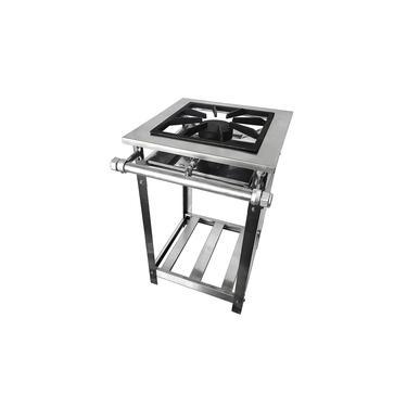 Fogão Industrial Inox Baixa Pressão 1 Boca Simples - Premium (perfil 8) - Grelha 38x38 - Brascool