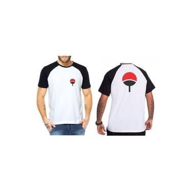 Camiseta Camisa Raglan Unissex Naruto Clã Uchiha Leque Sasuke Itachi Sarada Anime Geek Branco Preto