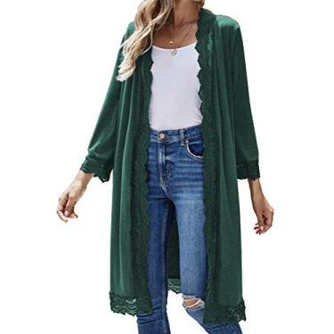 Cardigã feminino casual de manga 3/4, leve, de renda, aberto na frente, suéter de moletom P-3GG, Verde, Large