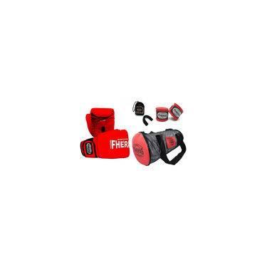 Kit Boxe Muay Thai Trad-Luva Bandagem Bucal Bolsa 14 oz- Vermelho