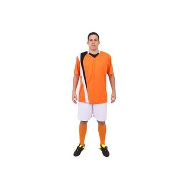Imagem de Uniforme Esportivo Completo modelo PSG 14+1 (14 camisas Laranja/Preto/Branco + 14 calções Madrid Branco + 14 pares de meiões Laranja + 1 conjunto de goleiro) +