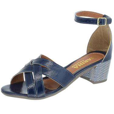 Sandalia Mariha Calçados Salto Bloco Trançada Azul  feminino