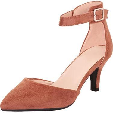 Cambridge Select Sapato feminino bico fino D'Orsay tira no tornozelo salto médio, Taupe Imsu, 9