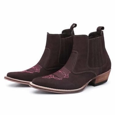 Bota Country em Couro Top Franca Shoes Café/Rosa  feminino