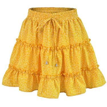 SOIMISS 1 PC 2020 Saias curtas de verão saia com babados de cintura alta Saias elegantes de impressão feminina praia em forma de A saia para menina (amarelo- L)