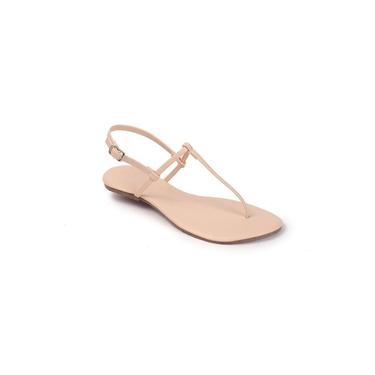 Sandália Flat Básica Feminina Mercedita Shoes Amêndoa