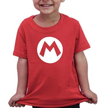 Camiseta Infantil Geek Anime Super Mario Bros - Algodão Cor:Vermelho;Tamanho:8