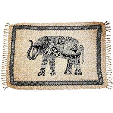 Canga De Praia Indiana Elefante Várias Cores e Modelos (Bege)