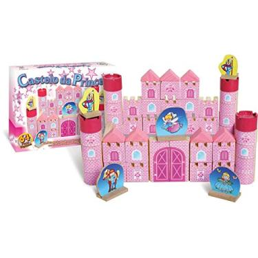 Imagem de Brinquedo para Montar Castelo Princesa Madeira, 64 Peças, Brincadeira De Criança