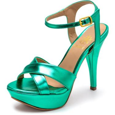 Sandália Tamanco Plataforma Salto Alto Fino Em Verde Metalizado  feminino
