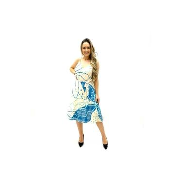 Vestido Fond Du Lac Midi Estampado Crepe Creme Azul Feminino