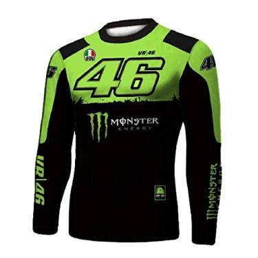 Camiseta Térmica Frio de Compressão Masculina Várias Estampas. Proteção UV (Preta e Verde 46, G)