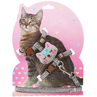Dorakitten Conjunto de coleira de peitoral para animais de estimação ajustável adorável colete peitoral para gatos com coleira para filhotes e gatos