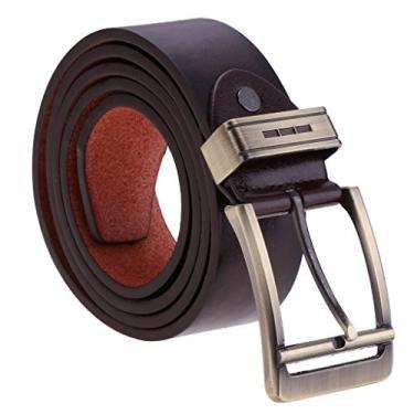 Homyl Calça Jeans Masculina Cintura 41.34 '' - 49.21 '' Cintura Cinto Cowboy Cinto - Café
