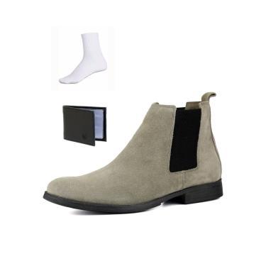 Bota Chelsea Boots Botina Confortável Escrete Couro 777 Cinza com Brinde  masculino