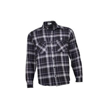 Camisa Xadrez Masculina Flanela Preto Cinza